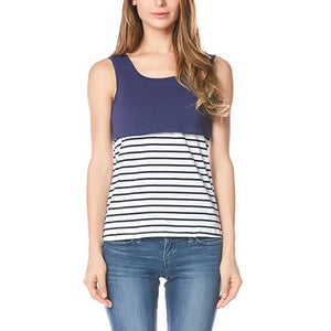 Maternity Stripe Patchwork T-Shirt