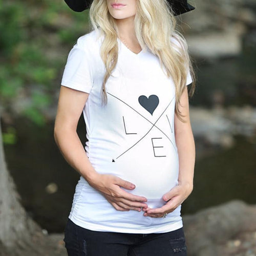 Maternity Solid Color V-Neck Short Sleeve T-Shirt