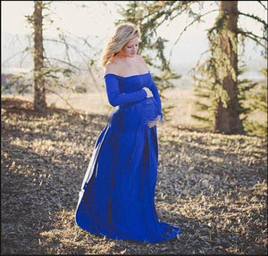 One-Neck, Long-Sleeve, Solid Color, Extended, And Floor-Length Maternity Dress