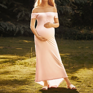 Maternity Off Shoulder Floor-Length Dress