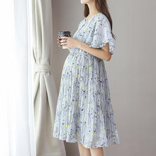 Load image into Gallery viewer, New Maternity Chiffon Pleated Dress