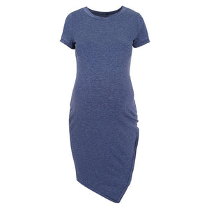Maternity Short Sleeve Fitted Terry Dress