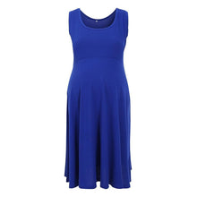 Load image into Gallery viewer, Summer Casual Women Plain Cotton Round Neck Skater Dress