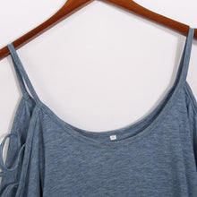 Load image into Gallery viewer, Open Shoulder Round Neck  Hollow Out Plain T-Shirts