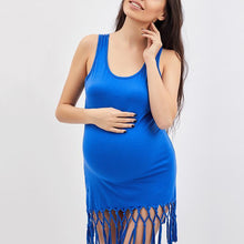 Load image into Gallery viewer, Maternity Round Neck  Fringe  Shift Dress
