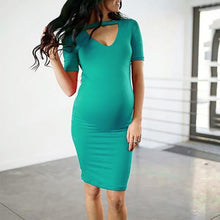 Load image into Gallery viewer, Solid Color Short Sleeve Maternity Dress