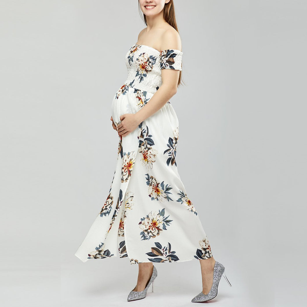 Maternity Off Shoulder  Asymmetric Hem  Floral Printed  Extra Short Sleeve Maxi Dresses