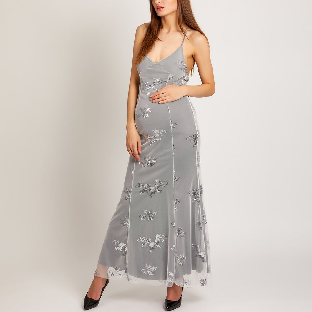 Maternity Spaghetti Strap Lace-Up Glitter Plain Evening Dress