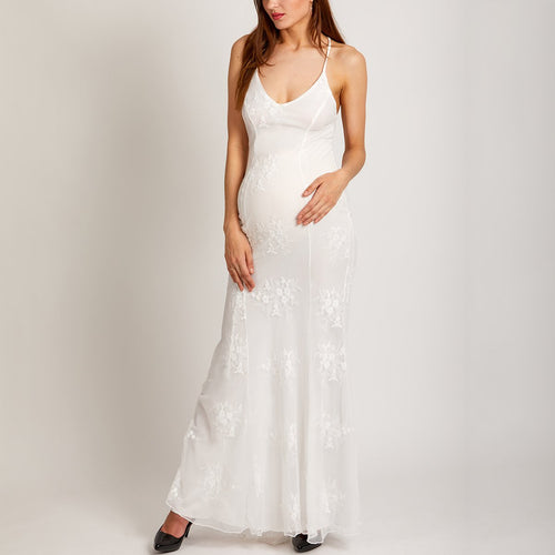 Maternity V Neck White Wedding Fishtail Evening Dress
