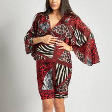 Load image into Gallery viewer, Maternity V Neck Printed Colour High-Waist Dresses