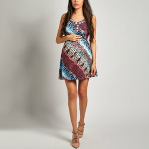 Maternity Spaghetti Strap  Print Shift Dress