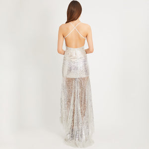 Maternity V-Neck Strapless Dress With Sequined Back