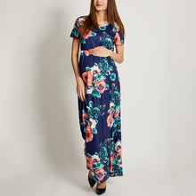 Load image into Gallery viewer, Maternity Flower Pattern Matching Long Dress