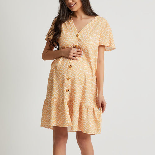 Maternity Deep V Neck Floral Print Short Sleeve Mini Dresses