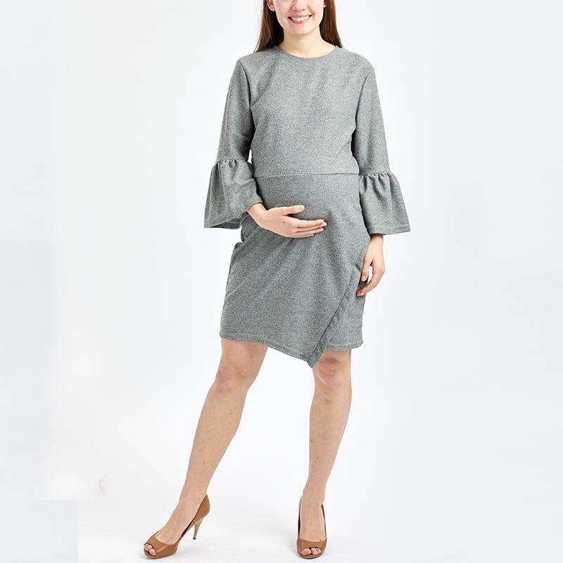 Maternity Fashion Lantern Sleeve Irregular Bodycon Dress