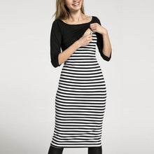 Load image into Gallery viewer, Multifunction Breast-Feeding Stripe Seven-Quarter Sleeve Maternity Dress