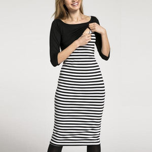 Multifunction Breast-Feeding Stripe Seven-Quarter Sleeve Maternity Dress