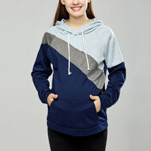 Load image into Gallery viewer, Maternity Multifunctional Color Block Nursing & Feeding Hoodie