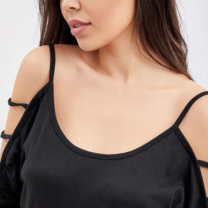 Maternity Open Shoulder Round Neck  Hollow Out Plain T-Shirts
