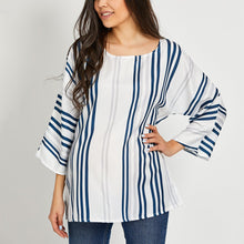 Load image into Gallery viewer, Maternity Round Neck  Loose Fitting  Stripes Blouses
