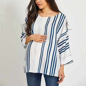 Maternity Round Neck  Loose Fitting  Stripes Blouses