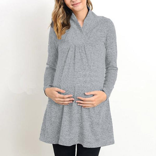 V-Neck Solid Color Long Sleeve Maternity Dress