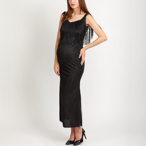 Maternity V-Neck Sleeveless Slim Maxi Evening Dress