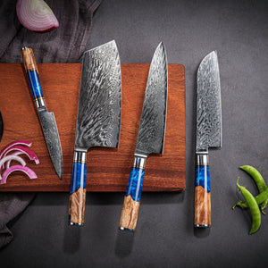 Rabbit Fantasy Japan Damascus Chef Knife Set VG10 /AUS-10 Steel Chef Knife with Blue Resin and Color Wood Handle
