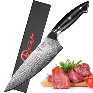 "Japanese Chef Knife 8"" Professional Damascus Chef Knife Super Sharp Knife with Full Tang Handle"
