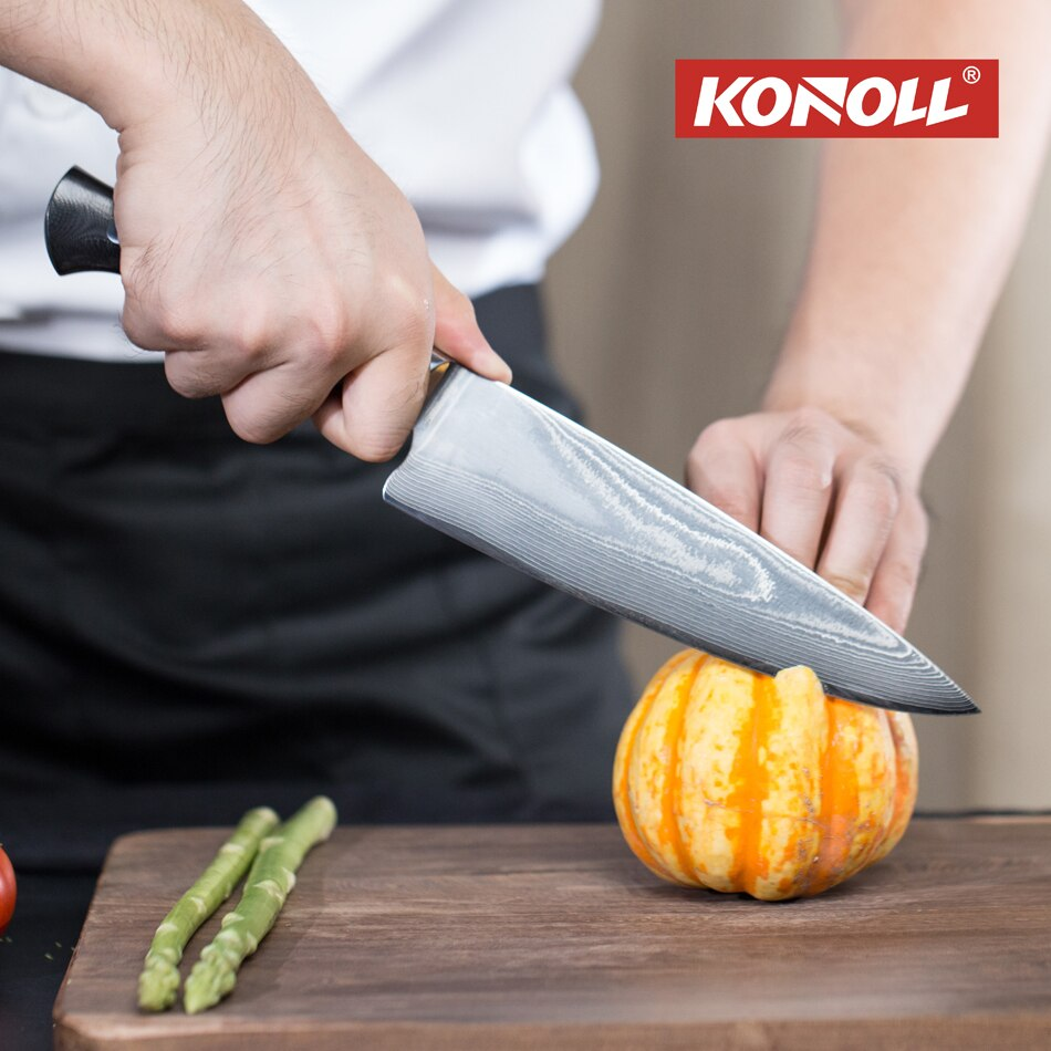 KONOLL 8 inch Professional Chef Knife Damascus 67 Layers AUS-10 Super Steel Razor Sharp Knife