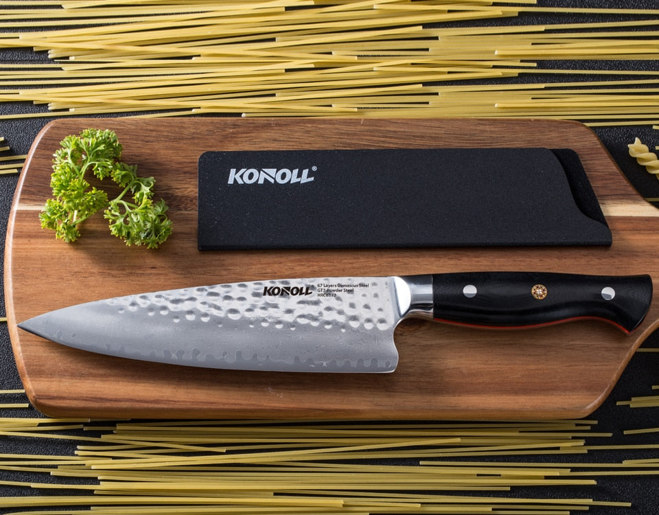 KONOLL 8 Inch Professional Chef Knife, GT7 Steel Vacuum Treated Hammered Finish, Razor Sharp 67 Layers Damascus Japanese knife