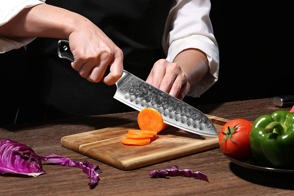 Rabbit Fantasy Damascus Chef Knife Professional Japan Sankotu Cleaver Bone Knives Utility Kiritsuke Paring Kitchen Knife Cooking Tools