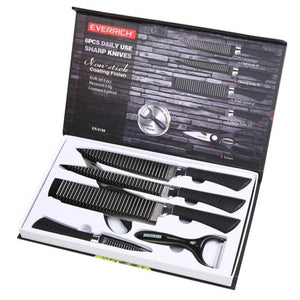 6PCS Kitchen Knife Set - Comfort-Pro Series - High Carbon Stainless Steel knives, Kitchen Carving cleaver scissor knife
