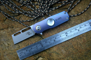 CH Rotating fold knife S35VN Blade ceramic ball bearing washer TC4 Titanium handle with key ring camping hunting pocket knives
