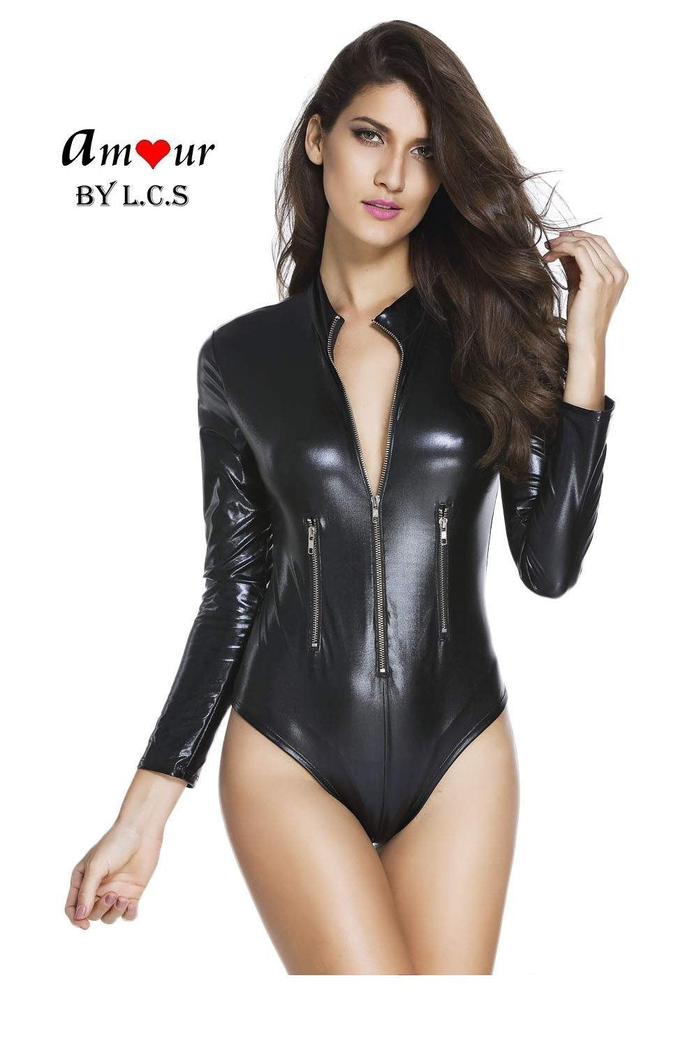[sexy leather bodysuit] - AMOUR Lingerie