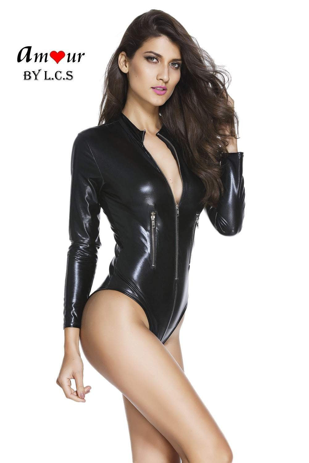 [sexy zipper leather bodysuit] - AMOUR Lingerie