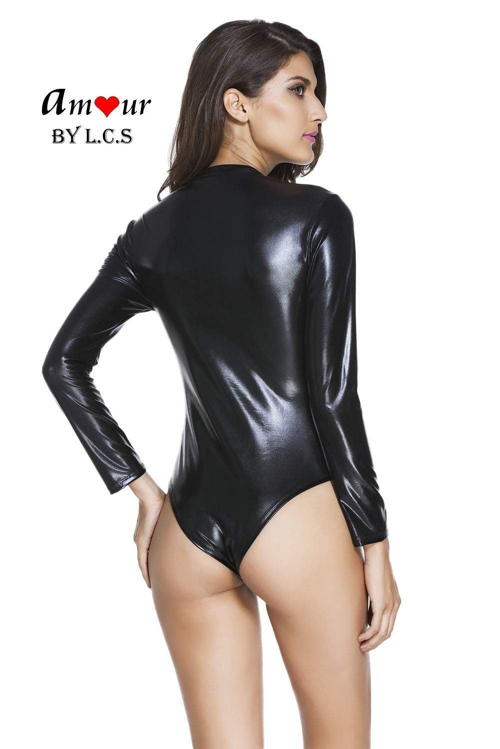 [sexy stretch leather bodysuit] - AMOUR Lingerie