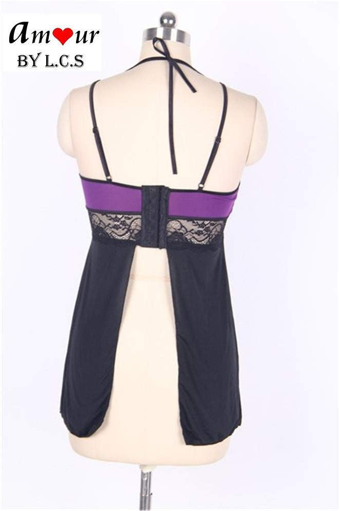 [purple halter babydoll on mannequin] - AMOUR Lingerie