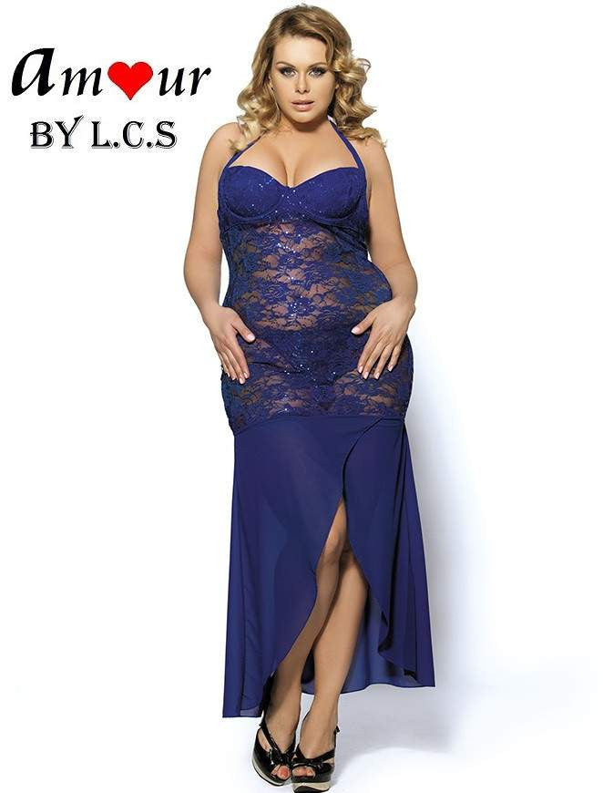 687c3e96bff Plus Size Halter Sheer Lace Maxi Dress – AMOUR Lingerie (Amour by LCS)