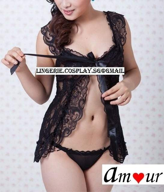 [sexy black flyaway babydoll] - AMOUR Lingerie