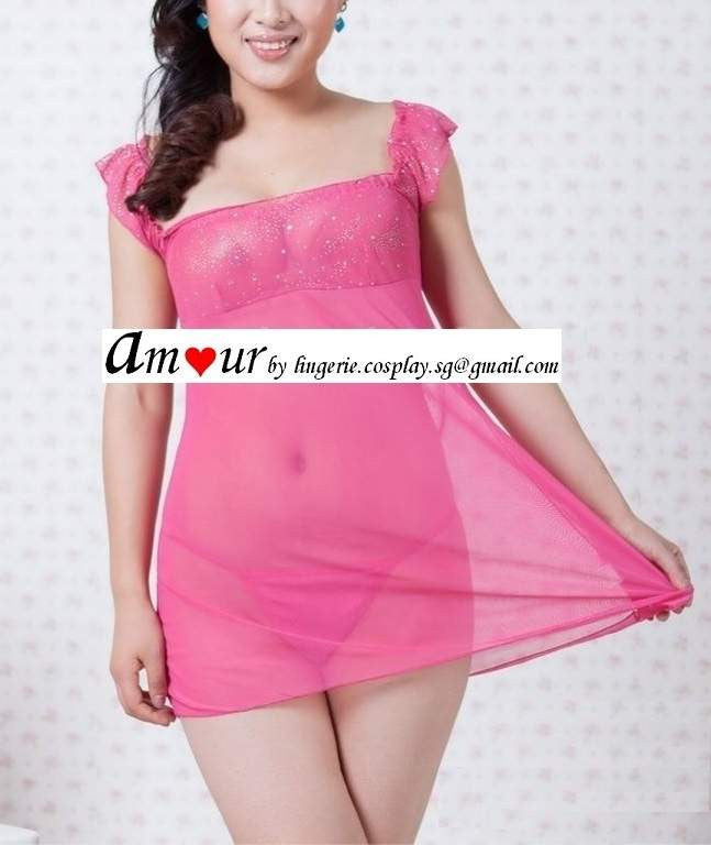[sexy pink lace chemise] - AMOUR Lingerie