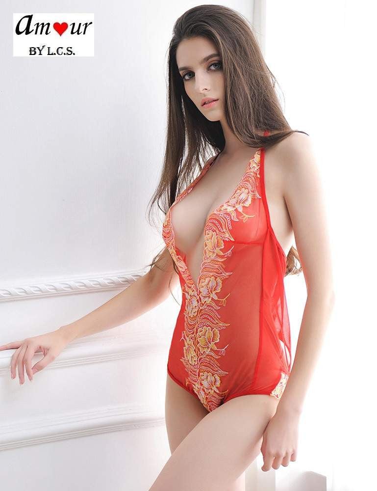 [sexy red lace teddy lingerie] - AMOUR Lingerie