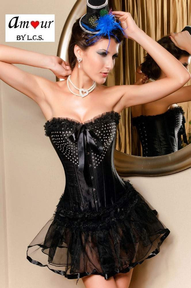 806c588b096 Rhinestones Studded Corset With Mini Skirt – AMOUR Lingerie (Amour ...