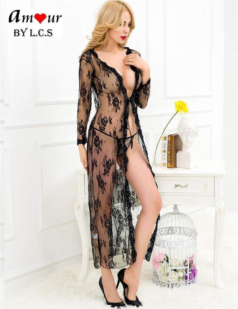 [sexy black lace robe gown] - AMOUR Lingerie