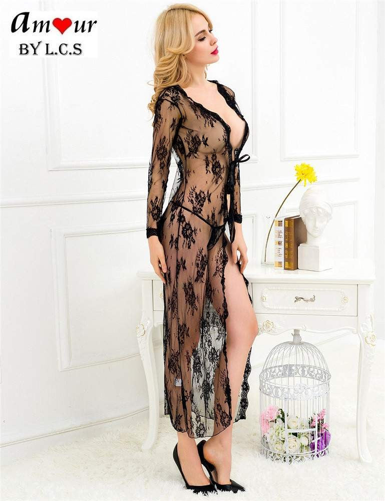 [black sheer lace robe] - AMOUR Lingerie