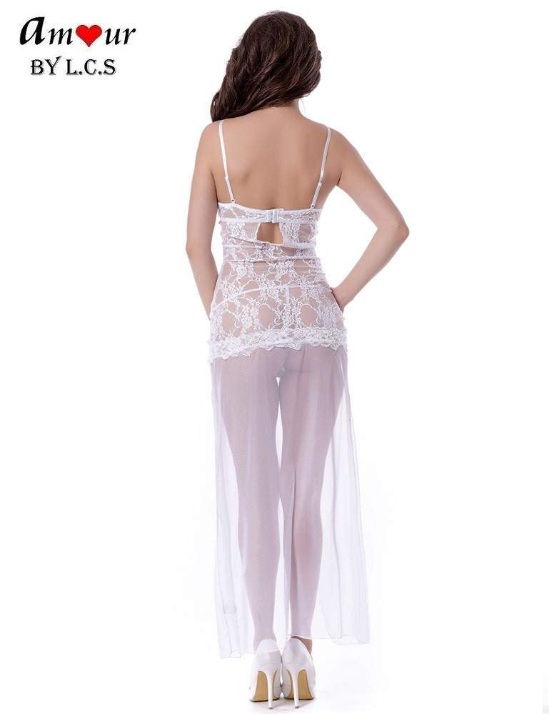 [see through lace gown backview] - AMOUR Lingerie