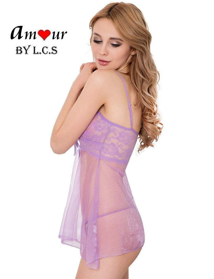 [soft lavender sexy babydoll] - AMOUR Lingerie