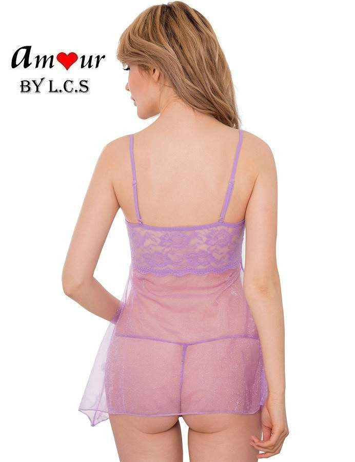 [sexy lavender spag babydoll] - AMOUR Lingerie