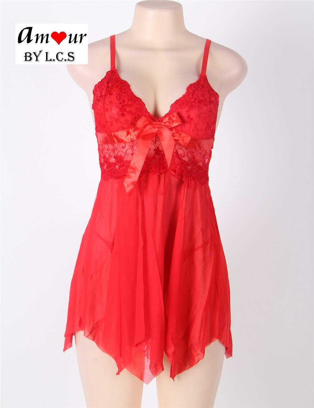 [red lace babydoll on mannikin] - AMOUR Lingerie
