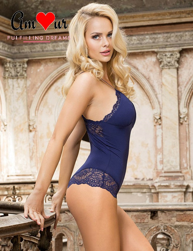 blue lace boyshorts teddy